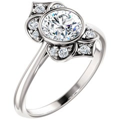 Vintage Inspired Halo Style Round Brilliant GIA Certified Engagement Ring