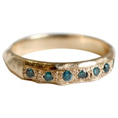Vintage Inspired Pave Blue Diamond Hammered Stacking Band in 14 Karat Gold