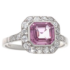 Vintage Inspired Pink Sapphire Diamond Platinum Engagement Ring