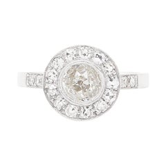Vintage Inspired Round Old Cut Diamond 18 Carat White Gold Cluster Ring