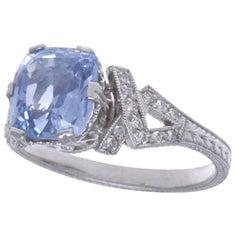 Vintage Inspired Sapphire Diamond Platinum Ring