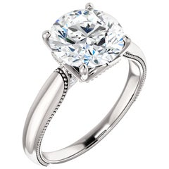 Vintage Inspired Solitaire Diamond Accented GIA Certified Round Engagement Ring