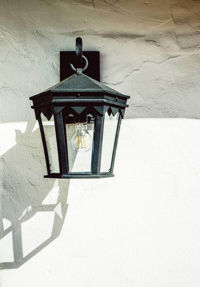 Forged Vintage Inspired Wrought Iron Exterior Lantern Pendant, Spanish Influence For Sale