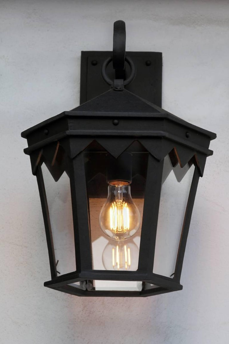 Vintage Inspired Wrought Iron Exterior Lantern Pendant, Spanish Influence In New Condition For Sale In Santa Barbara, CA