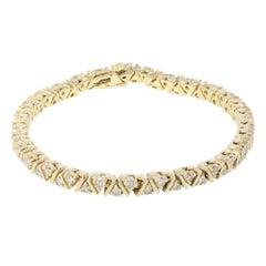 Yellow Gold Diamond Diamond Tennis Bracelet 2.00cts