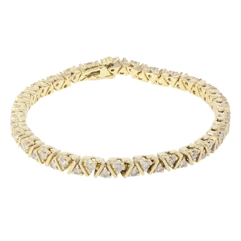 Yellow Gold Diamond Diamond Tennis Bracelet 2.00cts