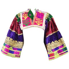 Vintage Intricately Embroidered Afghan Tribal Cropped Wide Kimono Sleeve Bodice