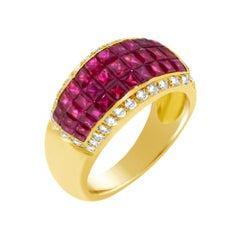 Vintage Invisible Setting Ruby Ring & Diamonds 18 Karat Yellow Gold