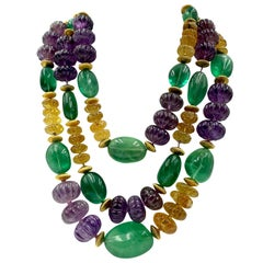Vintage Iradj Moini Amethyst, Citrine, Fluorite and Gold-Plated Bead Necklace