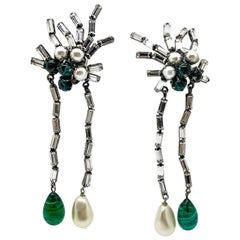 Vintage Iradj Moini New York Designer Shoulder Duster Green & Pearl Earrings
