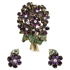Vintage Iradj Moini Signed Over-Sized Purple Floral Crystal Brooch & Earring Set