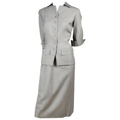 Vintage Irene Lentz 1950s Gray 2 Pc Skirt Suit Exclusively for Gunther Jaeckel