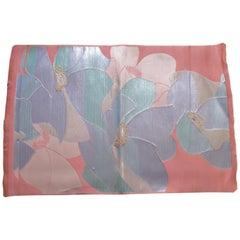 Vintage Iridescent Green and Pink Floral Obi Silk Floral Textile