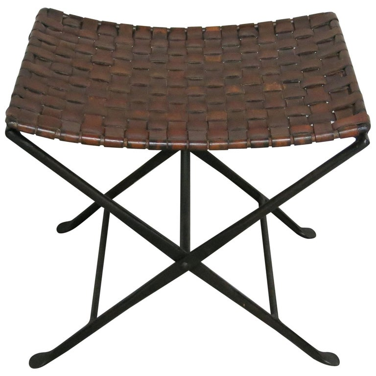 Vintage Iron And Leather Folding Stool For Sale At 1stdibs