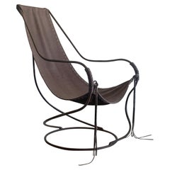 Vintage Iron and Leather Sling Chair
