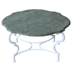 Vintage Iron and Marble Coffee Table, France, 1950s