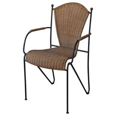 Vintage Iron and Wicker Armchair, France, 1950s