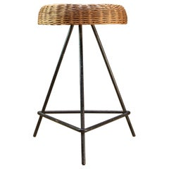 Cabin Modern Iron and Wicker Pedestal Stool Table Midcentury Decor Prop