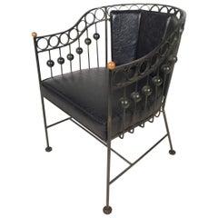 Vintage Iron Barrel Back Chair