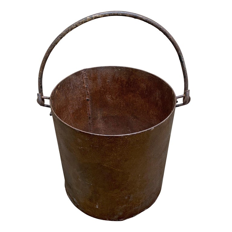 Industrial Vintage Iron Bucket For Sale