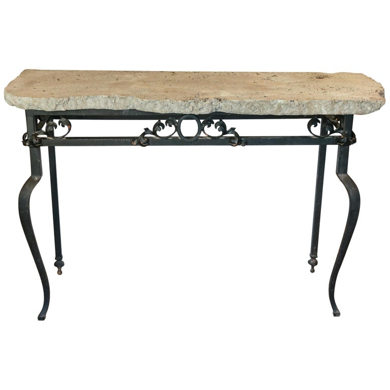 Vintage Iron Console Table With Cast Stone Faux Coral Top At 1stdibs