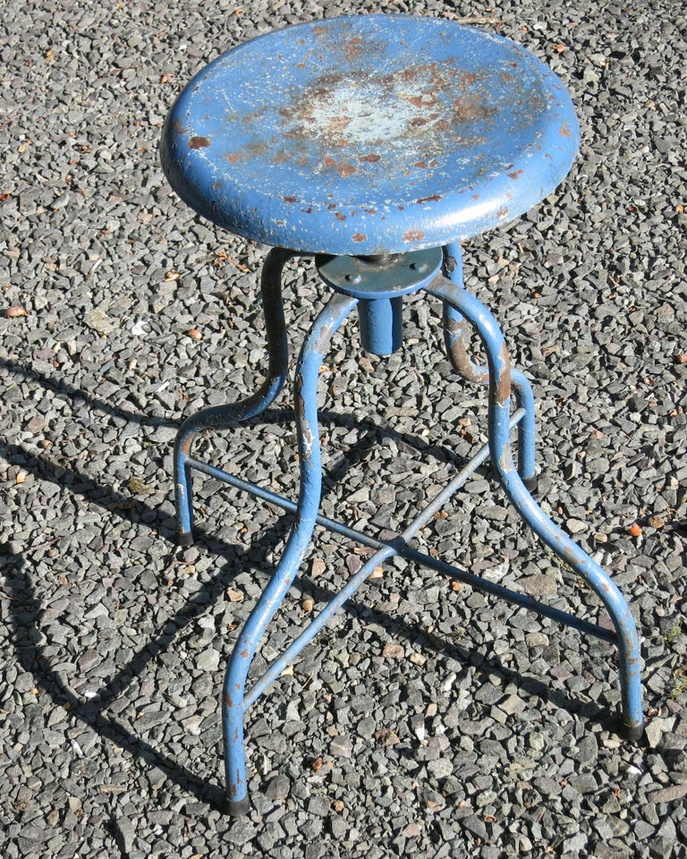 American Vintage Iron Medical Stool, Industrial Stool For Sale