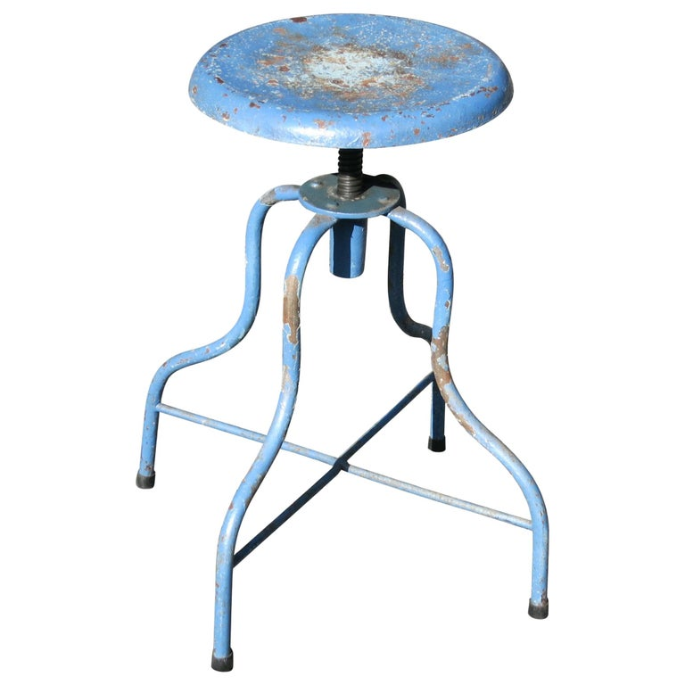 Vintage Iron Medical Stool, Industrial Stool For Sale