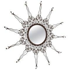 Vintage Iron Mirror, Italy, 1970s