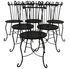 Vintage Iron Patio Chairs Set of 6