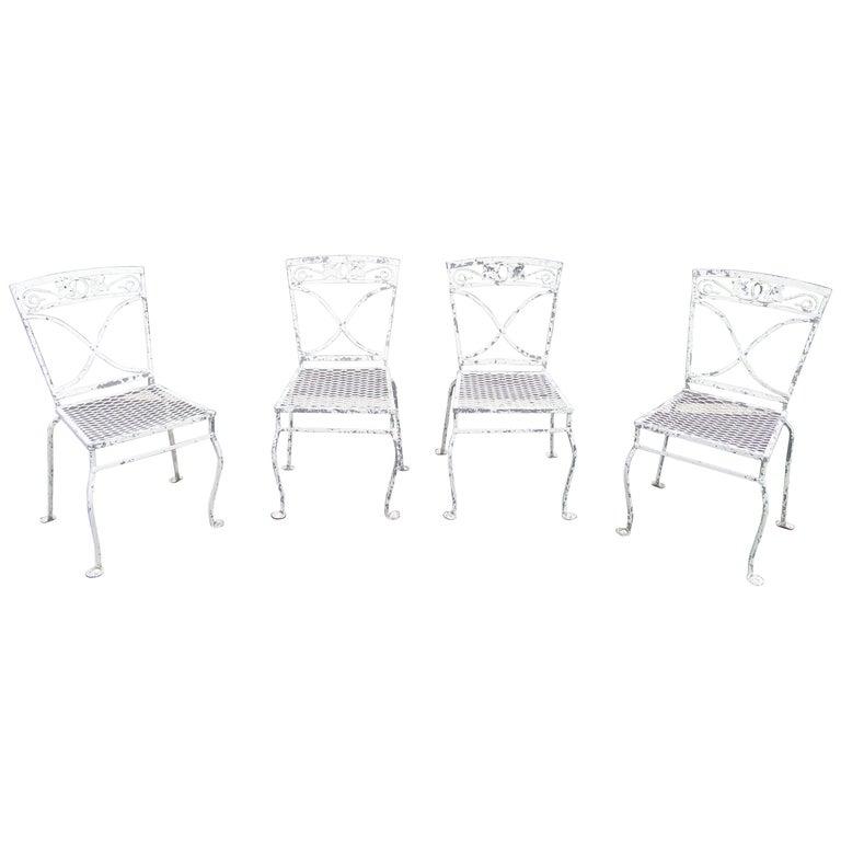 Astonishing Vintage Iron Patio Dining Chairs Set Of 4 Spiritservingveterans Wood Chair Design Ideas Spiritservingveteransorg