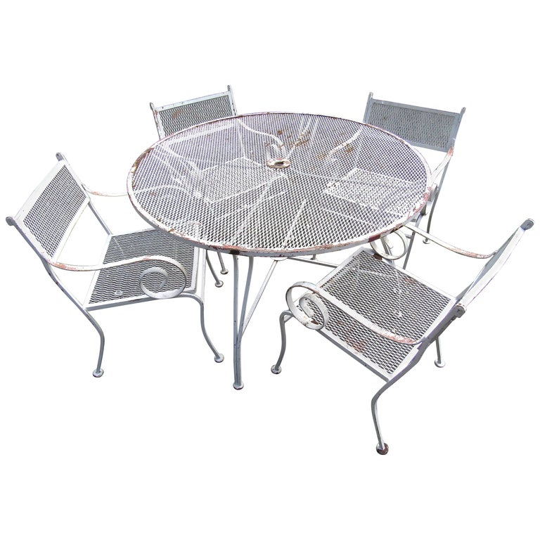 Vintage Iron Patio Dining Set For