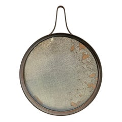 Vintage Iron Round Mirror with Antiqued Glass