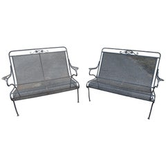 Vintage Iron Settees, a Pair