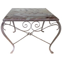 Vintage Iron Side Table with Pink Varigated Marble Top