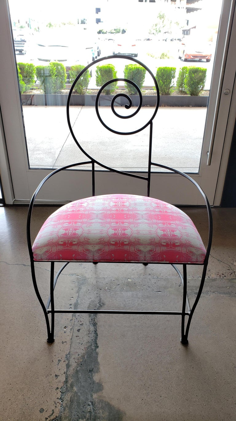 Newly reupholstered in pink tortoise root cellar indoor/outdoor fabric, these midcentury beauties have a wide and very comfortable seat base. Perfect for entertaining inside or outside- al fresco.
