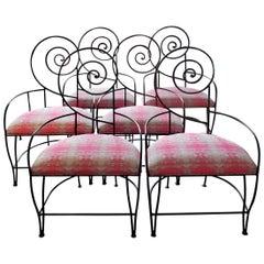 "Vintage Iron ""Swirl"" Back Chairs Set of 6"