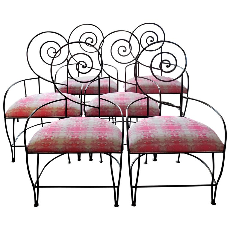 "Vintage Iron ""Swirl"" Back Chairs Set of 6 For Sale"