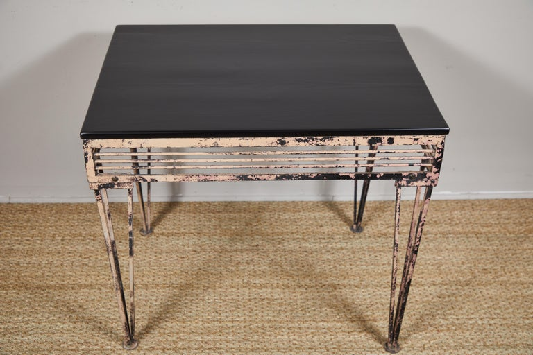 Vintage Iron Table with Black Wood Top For Sale 1