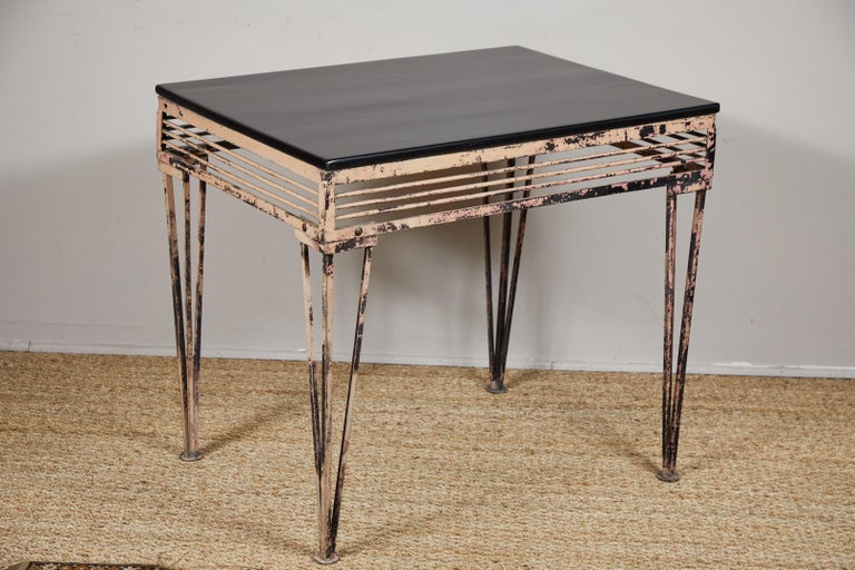 Vintage Iron Table with Black Wood Top For Sale 2
