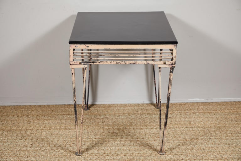 Vintage Iron Table with Black Wood Top For Sale 3