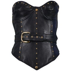 Vintage Isaac Mizrahi Black Leather Studded Bustier 1989