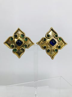 Vintage Isabel Canovas Goldtone Handmade Moorish Jewel Earrings 1990s