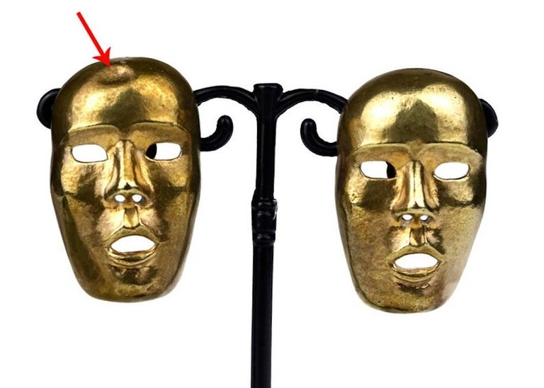 Vintage ISABEL CANOVAS Important Giant Mask Earrings For Sale 6
