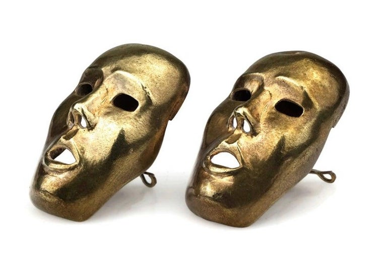 Women's Vintage ISABEL CANOVAS Important Giant Mask Earrings For Sale