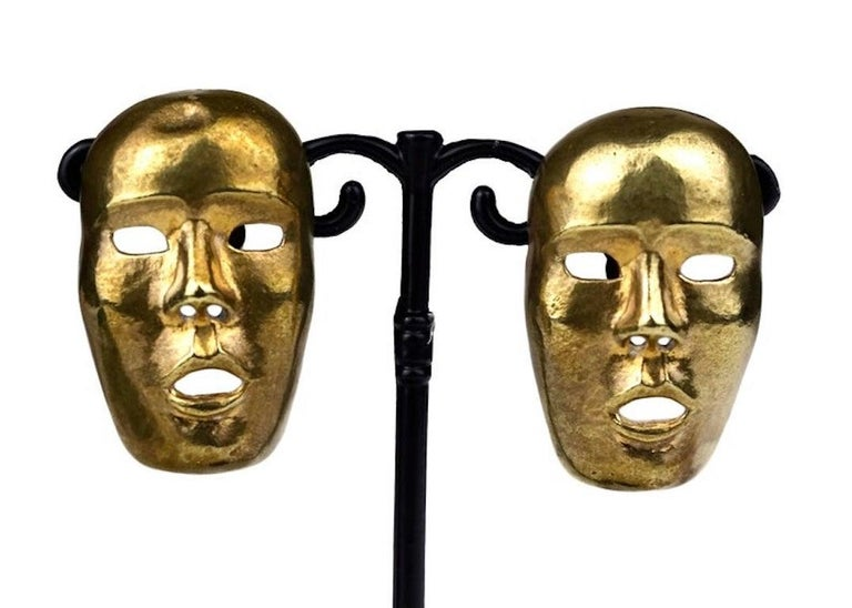 Vintage ISABEL CANOVAS Important Giant Mask Earrings For Sale 1
