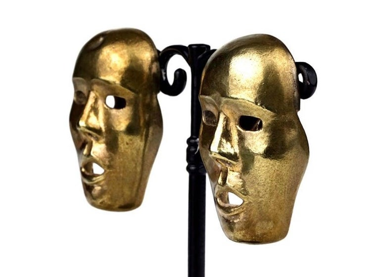 Vintage ISABEL CANOVAS Important Giant Mask Earrings For Sale 2