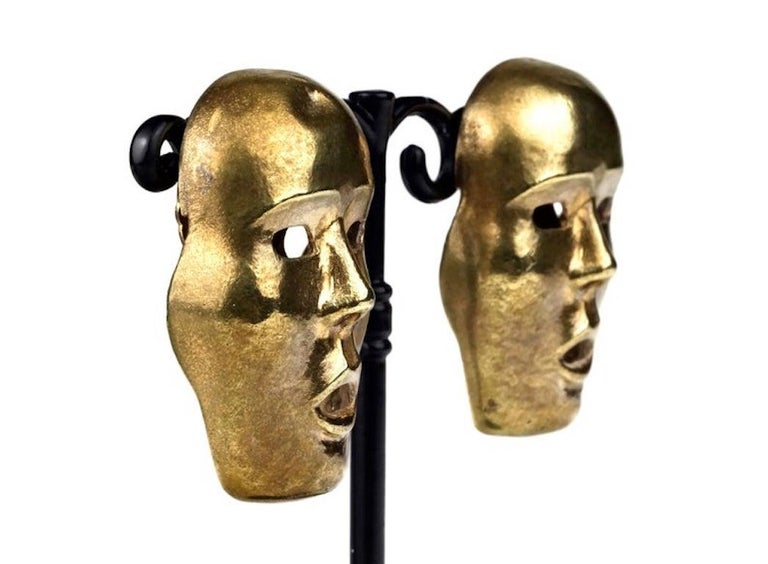 Vintage ISABEL CANOVAS Important Giant Mask Earrings For Sale 3