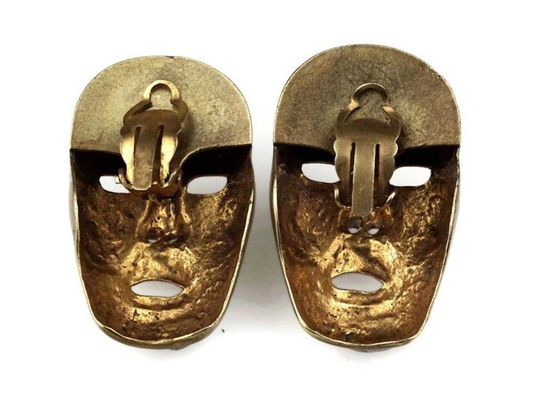 Vintage ISABEL CANOVAS Important Giant Mask Earrings For Sale 5