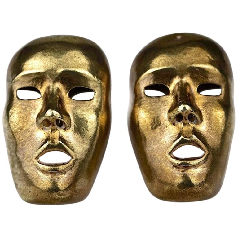 Vintage ISABEL CANOVAS Important Giant Mask Earrings For Sale