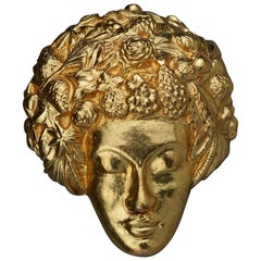 Vintage ISABEL CANOVAS Intricate Lady Face Brooch